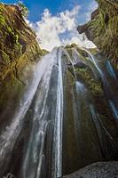 Gljúfrabúi, Iceland - Gljúfrabúi is a 40m waterfall right next to Seljalandsfoss (the waterfall you can walk behind) you just walk thru the camp site ...