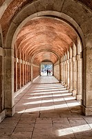 Arches and passageway at the Palacio Real Aranjuez, located in the Royal Site and town of Aranjuez, Madrid province, Spain.