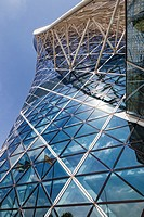 Contemporary styled Hyatt Capital Gate Hotel, designed by RMJM Architects in Capital Centre, Abu Dhabi, United Arab Emirates.