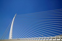 The ´Assut de l´Or Bridge´ suspension bridge designed by Santiago Calatrava and opened in 2008, Valencia, Spain