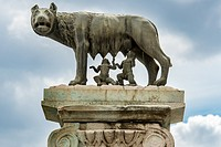 Rome, Italy- Close up of the famous sculpture Lupa Capitolina, otherwise known as the Capitoline Wolf and the Twins found in Rome. The sculpture repre...