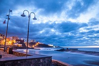 sunset coastal view of Bajamar municipality (Tenerife island) Spain