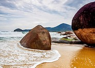 Brazil, State of Rio de Janeiro, Paraty Zone, Trinidade, Rocks on the Cepilho Beach.