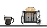 Toaster with toast and a cup of coffee under x-ray.
