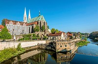 Neisse River waterfront and Peterskirche in the background, Goerlitz, Saxony, Germany