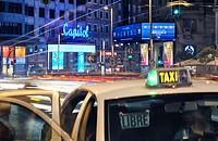Traffic by night at Gran Via street. Madrid, Spain.