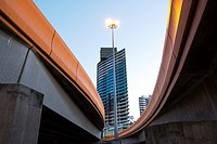Wurundjeri Way and modern buildings, Melbourne.