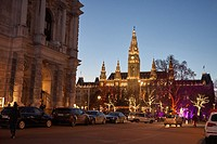 Europe, Austria, Vienna, Christmas market outside Vienna city hall