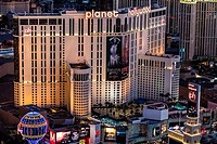 Aerial view of Planet Hollywood Hotel the Strip, Las Vegas, Nevada, USA.