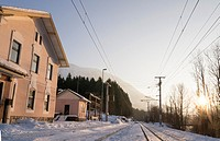 Sunset at the Langwies station in the Salzkammergut Cultural Heritage Region in Winter, Austria