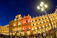 Main Square, Baroque Style, 18th century, Traditional Architecture, Salamanca, UNESCO World Heritage Site, Castilla y León, Spain, Europe.
