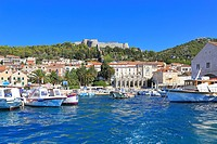 Hvar Town harbour and Spanish Fortress, Croatia, Dalmatia, Dalmatian, Coast, Europe.