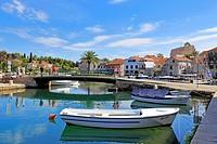 Fishing boats and harbour footbridge, Vrboska, Hvar Island, Croatia, Dalmatia, Dalmatian Coast, Europe.