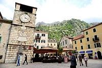 Clock tower in Oruzja square, Kotor, Montenegro.