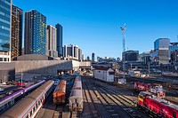 Melbourne skyline rail yard near Spencer Street station.