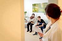 Waiting room in doctors surgery,Konstanz,Germany.