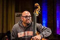 American bass player Christian McBride at soundchecks at the Turner Sims Concert Hall in Southampton, England.