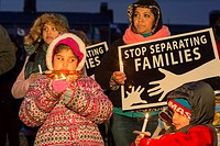 Detroit, Michigan USA - 15 February 2017 - People rally outside Western International High School against deportations of immigrants and against plans...