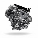 2017 Buick Lacrosse 3. 6L V6 VVT DI 310HP car engine isolated with clipping path on white background.
