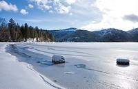 Frozen Spirit Lake shore line during winter in Spirit Lake, Idaho.