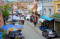 Bazaar area, Green market, Pristina, Kosovo.