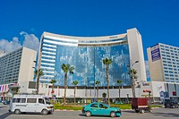 Place du Maghreb Arabe, with Hilton hotel and Tanger City Mall, Tangier, Morocco, Africa.