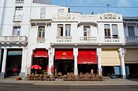 Cafe exterior, Boulevard Mohammed V, Casablanca, Morocco.