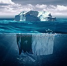 Iceberg, marine backgrounds with north ocean and underwater landscape.