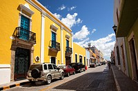 Colorful colonial buildings at the historic center, Campeche City, Campeche State, Mexico, Central America