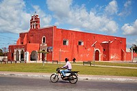 Motorcyclist in front of the Temple of the San Francisco De Asis Extramuros-Templo De San Francisco De Asis Extramuros, Campeche City, Campeche State,...