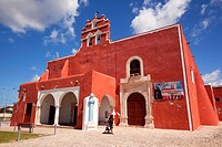 Mother and child in front of the Temple of the San Francisco De Asis Extramuros-Templo De San Francisco De Asis Extramuros, Campeche City, Campeche St...