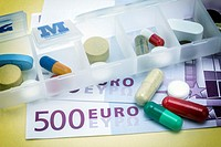 capsules up ticket euro, concept of health copay.