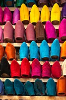 Fes, Morocco. Leather Slippers for Sale in the Medina, Fes El-Bali.