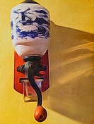 A Dutch style coffee grinder, with Delft blue pattern, on the wall, Ontario, Canada