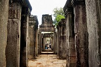 Bayon temple, outer gallery, Angkor Thom , Siem Reap, Cambodia. UNESCO World Heritage Site. Capital city of the Khmer empire built at the end of the 1...