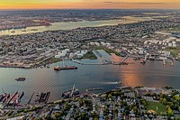 Aerial View Port Of NY And NJ - Aerial view the New York / New Jersey Harbor and the industrial section of Bayonne, New Jersey, bordered by Newark Bay...