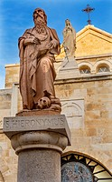 Saint Jerome Statue Saint Catherine Church Church of the Nativity Bethlehem West Bank Palestine. Saint Jerome lived in Bethlehem 384 AD. First person ...