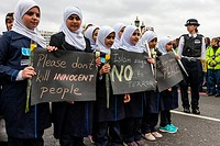 A Week After The London Terror Attack, Muslim Schoolgirls March Across Westminster Bridge With Banners Denouncing The Recent Terror Attack On London, ...