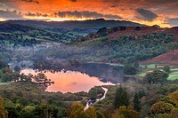 A view over Rydal Water from White Moss Common, Lake District National Park, Cumbria, England, United Kingdom, Europe.