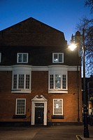 Townhouse at night, Mayfair, London, UK.