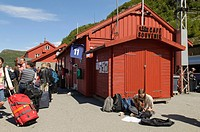 Myrdal Station, Flåm Railway (Flåmsbana, the train runs through spectacular scenery, alongside the Rallar Road, vertiginous mountainsides, foaming wat...