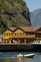Flåm Harvour, Flåmsdalen, at the inner end of the Aurlandsfjorden, a branch of Sognefjorden, Sogn og Fjordane, Fjords, Norway, Europe