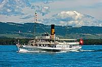 Paddle wheel steamer Simplon on Lake Geneva, Geneva, Switzerland.