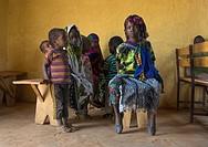 Borana children during sunday church service, Oromia, Yabelo, Ethiopia.