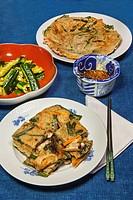 Korean stir fry meal at home in Nakaikegami, Tokyo, Japan.
