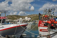 A fishing boats view in the Carboneras port, Almería province, Spain.