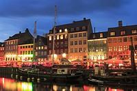 Nyhavn Canal at Dusk, Copenhagen, Denmark.
