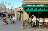 United States, Louisiana, New Orleans. Cafe du Monde in the French Quarter, known for chicory coffee and beignets.