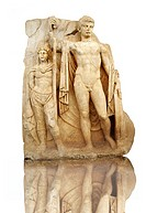Photo of Roman releif sculpture of Emperor Tiberius with captive About to vanquish Britanica from Aphrodisias, Turkey, Images of Roman art bas releifs...