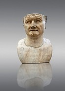 Roman marble sculpture bust of Emperor Vespasian 80 AD, inv 6068, Museum of Archaeology, Italy.